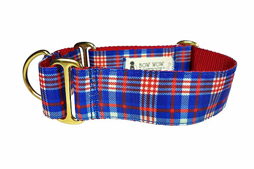 38mm Wide Blue/Red Tartan Martingale Dog Collar
