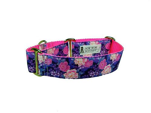 38mm Wide Purple Flowers Martingale Dog Collar