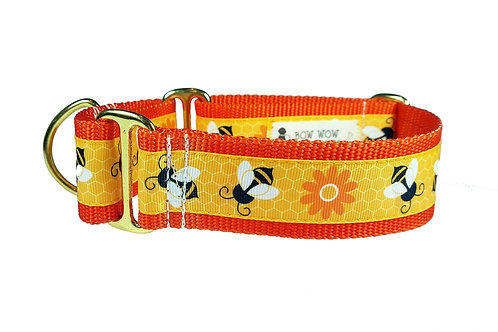38mm Wide Honey Bees Martingale Dog Collar