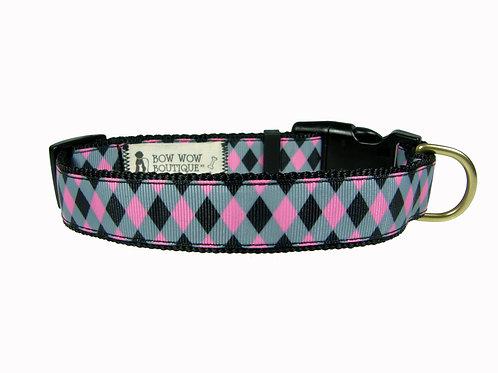 25mm Wide Pink Diamonds Dog Collar
