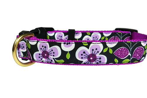 25mm Wide Purple Flowers Dog Collar