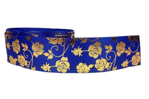 38mm Wide Gold Roses on Blue Dog Collar
