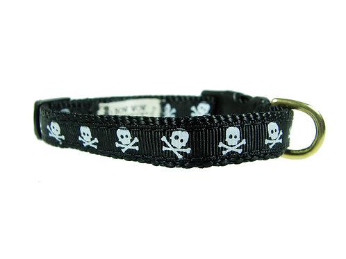 12.7mm Wide Black Skulls Collar