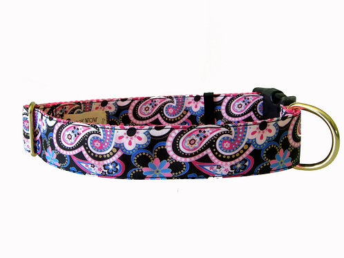 38mm Wide Black/ Pink Paisley Dog Collar
