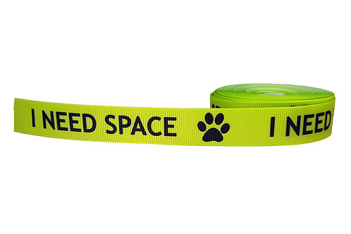 19mm Wide I Need Space Fluro Green Martingale Collar