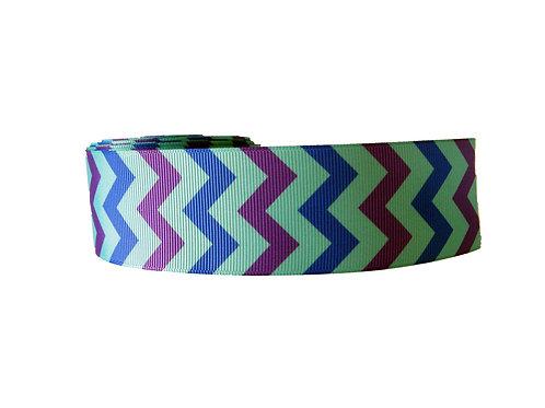 38mm Wide Blue & Purple Chevron Dog Collar