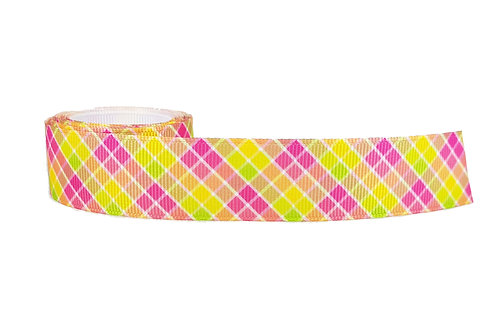 25mm Wide Pink & Green Check Dog Collar