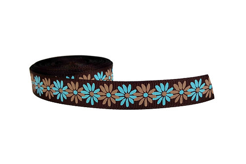 19mm Wide Flowers on Brown Collar