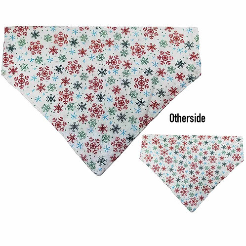 Medium Snowflakes on White Bandana