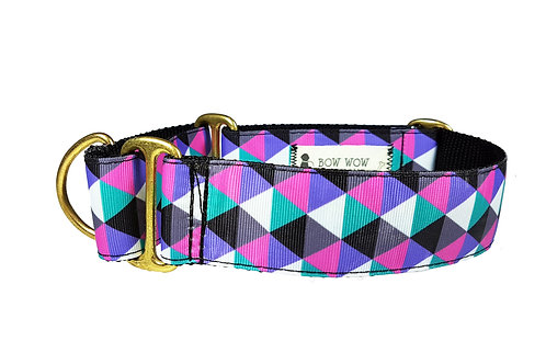 38mm Wide Pink & Purple Triangles Martingale Dog Collar