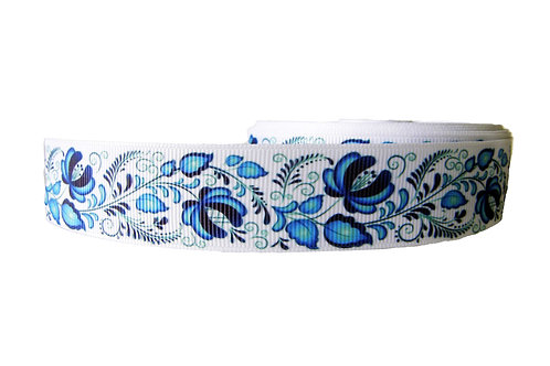 25mm Wide Blue Flowers Double Ended Lead