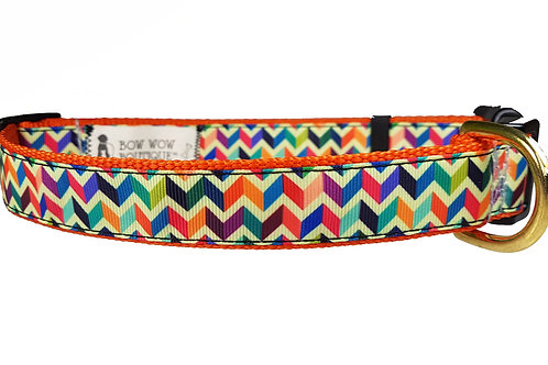 25mm Wide Multi Coloured Chevron Dog Collar