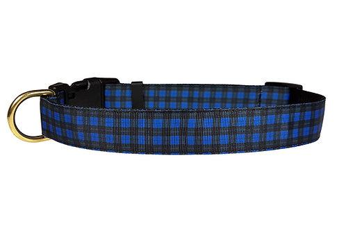 25mm Wide Blue & Black Tartan Dog Collar