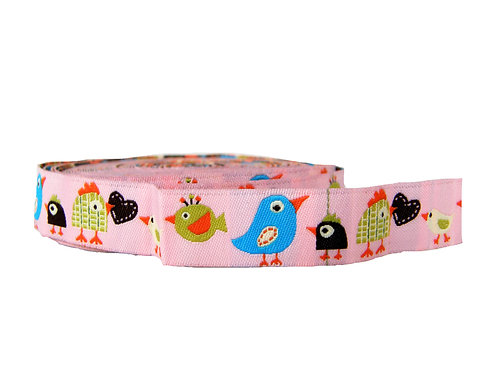 19mm Wide Pink Birds Martingale Collar