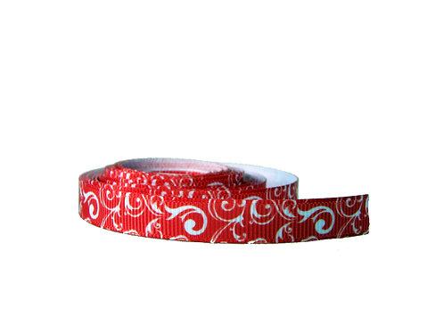 12.7mm Wide Red Swirls Collar