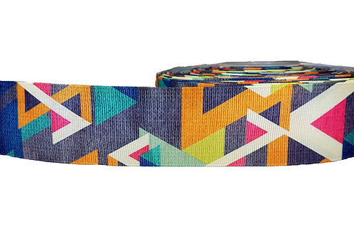 38mm Wide Grey/ Blue/ Yellow Geometric Shapes Martingale Collar