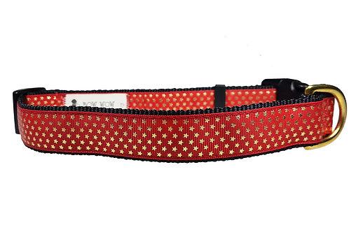 25mm Gold Stars on Red Dog Collar