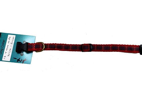 12.7mm Wide Red Tartan Dog Collar