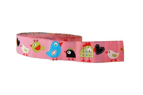 25mm Wide Pink Birds Dog Collar