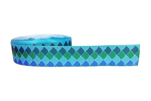 25mm Wide Blue Mermaid Scales Dog Collar