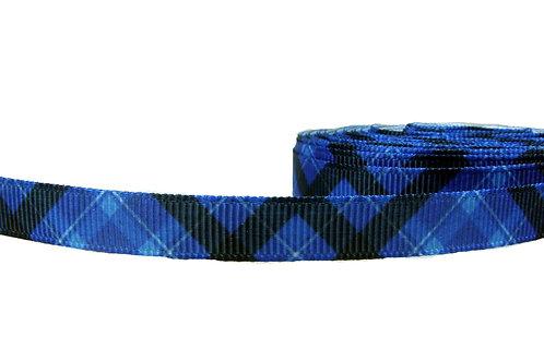 12.7mm Wide Blue Tartan Double Ended Lead