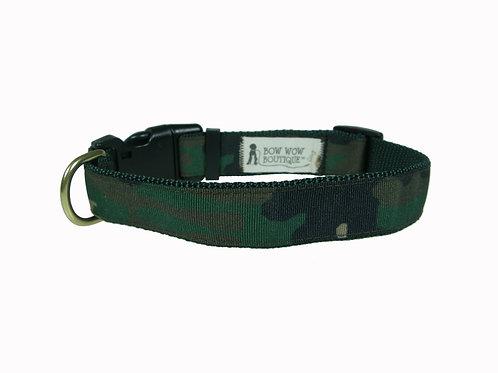 25mm Wide Green Camo V2 Dog Collar