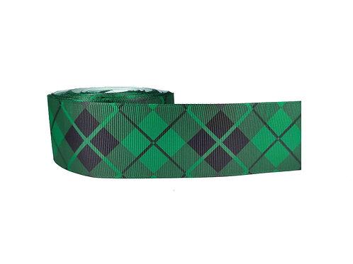 38mm Wide Black Diamonds on Green Dog Collar