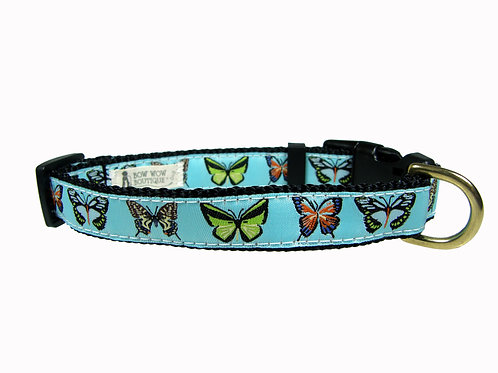 19mm Wide Butterflies Dog Collar