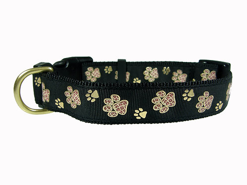25mm Wide Gold Paw Prints Dog Collar