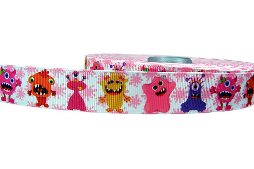 25mm Wide Cute Monsters Martingale Collar