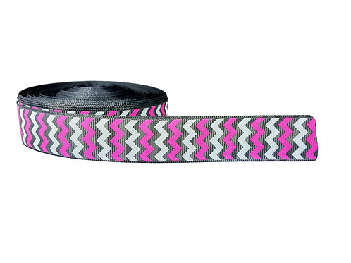 25mm Wide Pink, Grey and White Chevron Lead