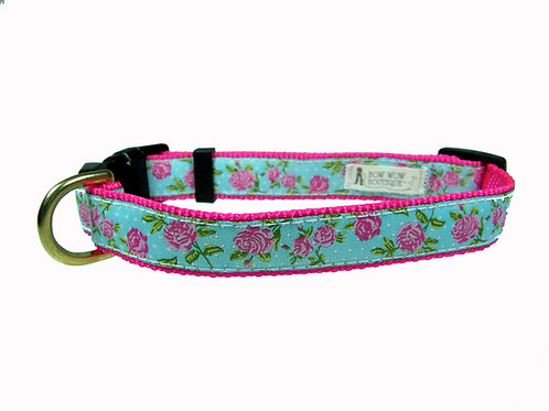 19mm Wide Pink Roses Collar