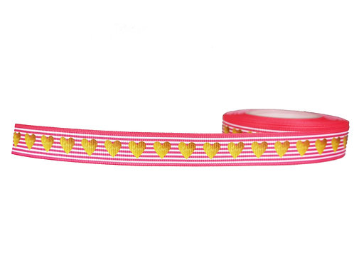 19mm Wide Gold Hearts on Pink Stripes Collar