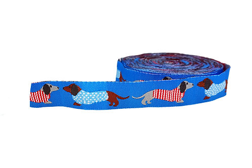 19mm Wide Dachshunds on Blue Lead
