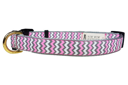 25mm Wide Pink, Grey and White Chevron Dog Collar