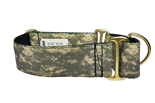 38mm Wide Pixelated Camo Martingale Dog Collar