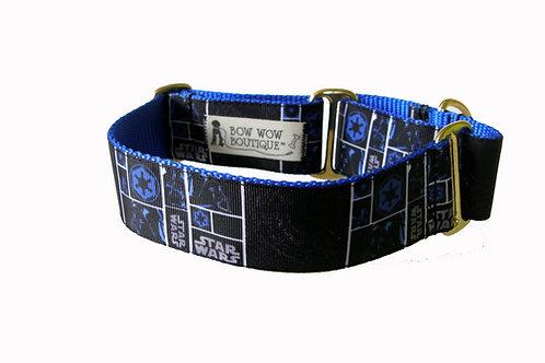 38mm Wide Star Wars Blue/Black Martingale Dog Collar