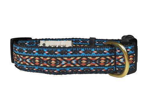 25mm Wide Blue/Orange X's Dog Collar