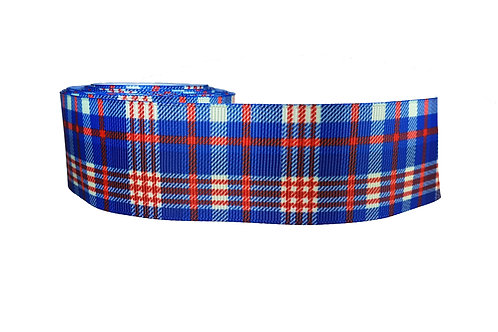 38mm Wide Blue/ Red Tartan Dog Collar