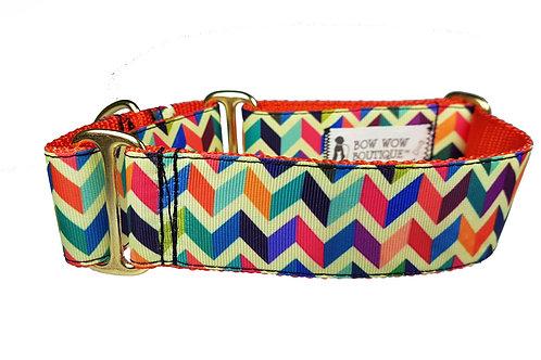 38mm Wide Multi Coloured Chevron Martingale Dog Collar