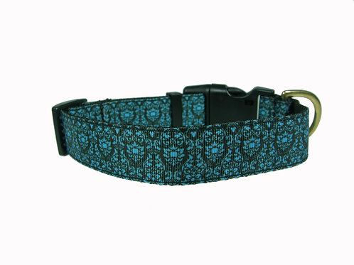 25mm Wide Blue Regal Pattern Dog Collar