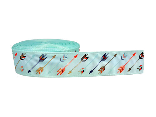 25mm Wide Multi Coloured Arrows on Mint Martingale Collar