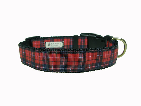 25mm Wide Red Tartan Dog Collar