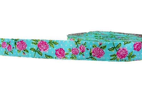 19mm Wide Pink Roses on Blue Collar