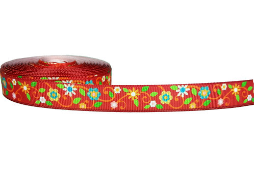 19mm Wide Red Flowers Double Ended Lead