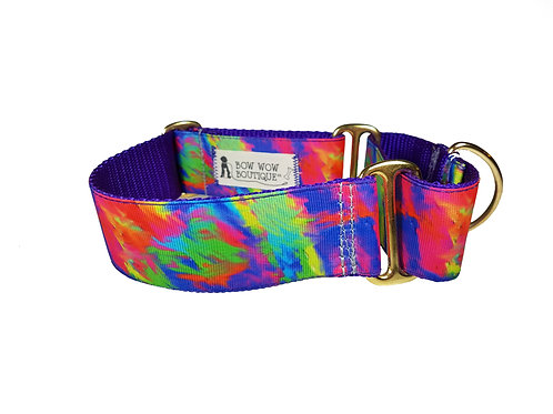 38mm Wide Tie Dye Martingale Dog Collar