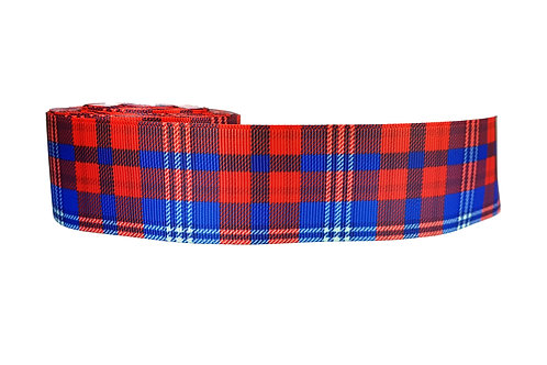 38mm Wide Red with Blue Tartan Martingale Collar