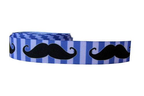 25mm Wide Moustaches on Blue Double Ended Lead