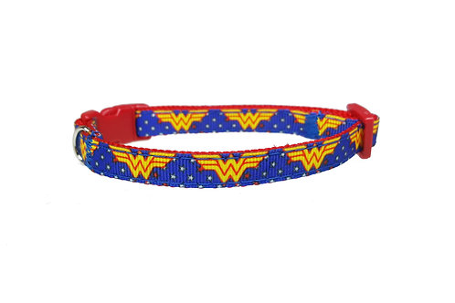 Wonder Woman Blue Cat Collar
