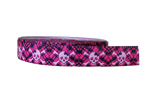 25mm Wide Skulls on Pink Tartan Martingale Collar